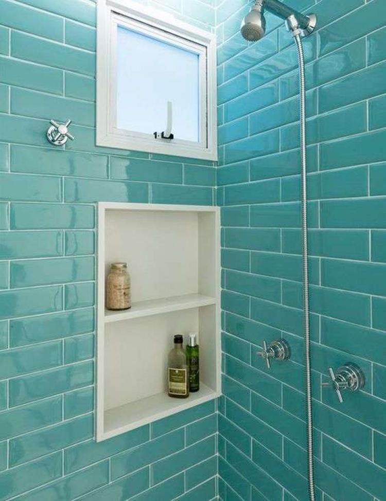 Aquamarine Color Bathroom Tiles Bricks