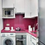 Best Washing Machine In The Kitchen Ideas With White And Pink Colors Decor