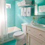 Blue adn White Bathroom Aquamarine Color Bath