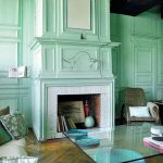 Color Aquamarine Walls and Fireplace