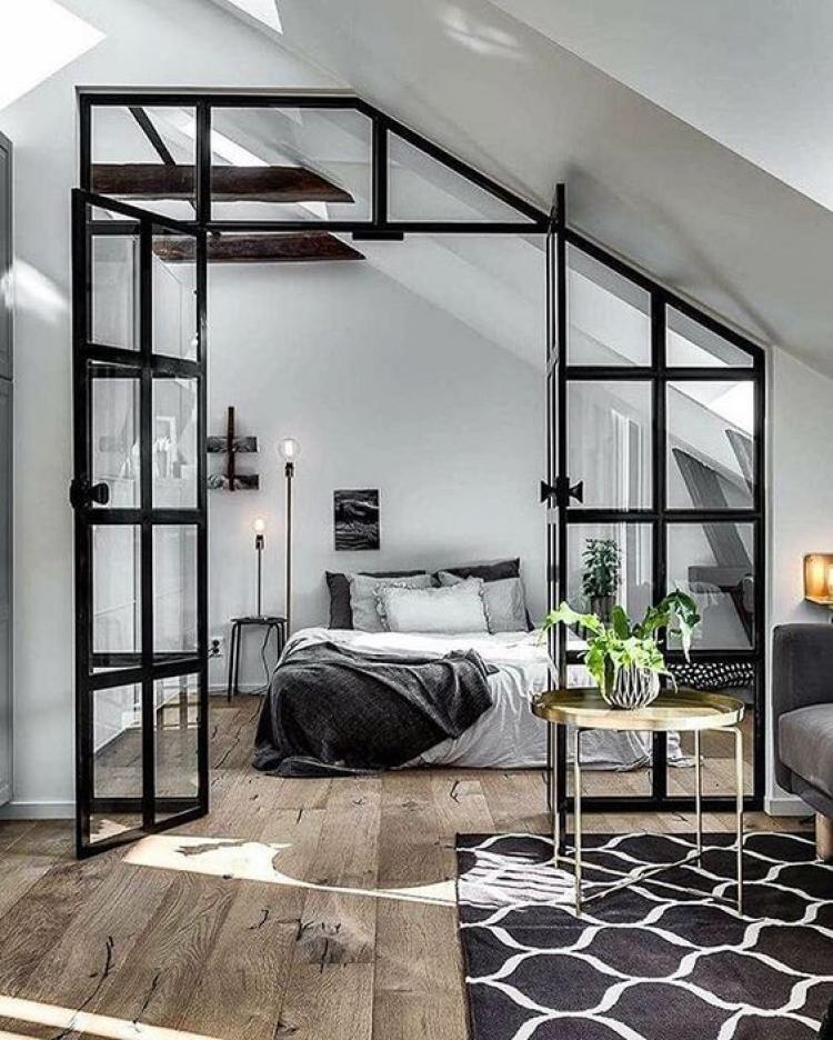 Black Bedroom Colour Schemes: Fabulous Black And White Bedroom Colors On Attic With