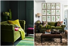 Green Velvet Sofa On Green Living Room