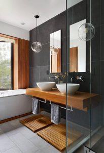 Magnificent Bathroom Design with Wooden Floating Vanity
