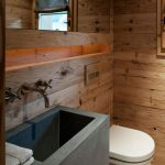 Modern Rustic Bathroom Sink Concrete Wood Wall Siding