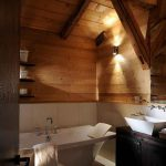 Rustic Bathroom Atmosphere Warm Wood Furniture Under Dark Wood Bowl