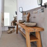 Rustic Bathroom Decoration Concrete And Wooden Equipment