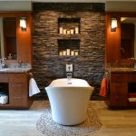 Rustic Bathroom Decoration Stone Wall And Wood Bathroom Cabinet