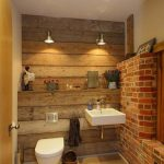 Rustic Bathroom Lighting Original And Wall In Bricks adn Floating Sink adn Twin Small Bathroom Lighting