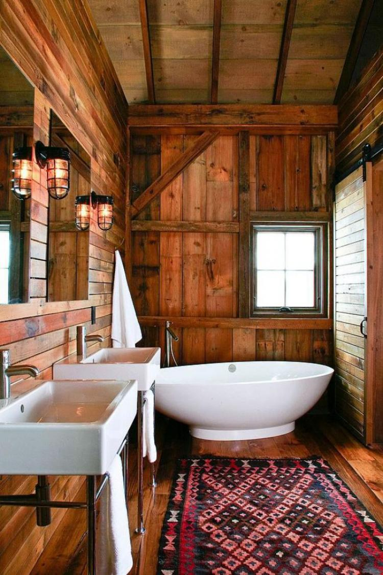 38 beautiful design of rustic bathroom ideas for Cabin bathroom rugs
