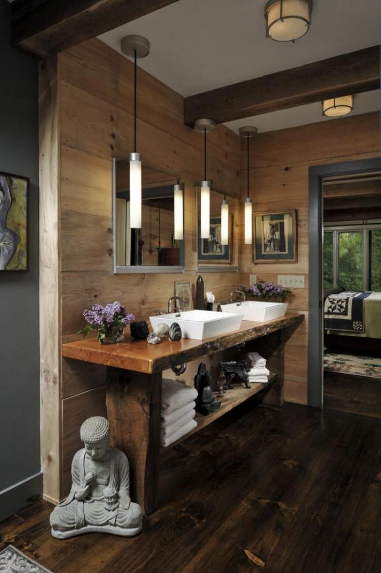 Rustic Bathroom Style Modern Chalet Gross Wood Counter