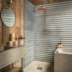 Rustic Bathroom Tub And Sink Concrete And Wall Covering Wooden Boards