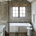 Rustic Bathroom Wall Siding Natural Stone Large White Bathtub