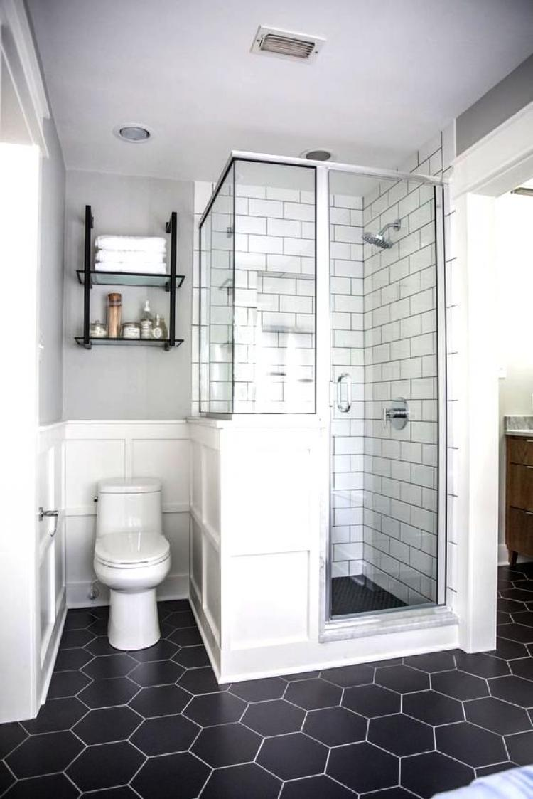 Small Bathroom Black And White Colors With Black Hexagonal