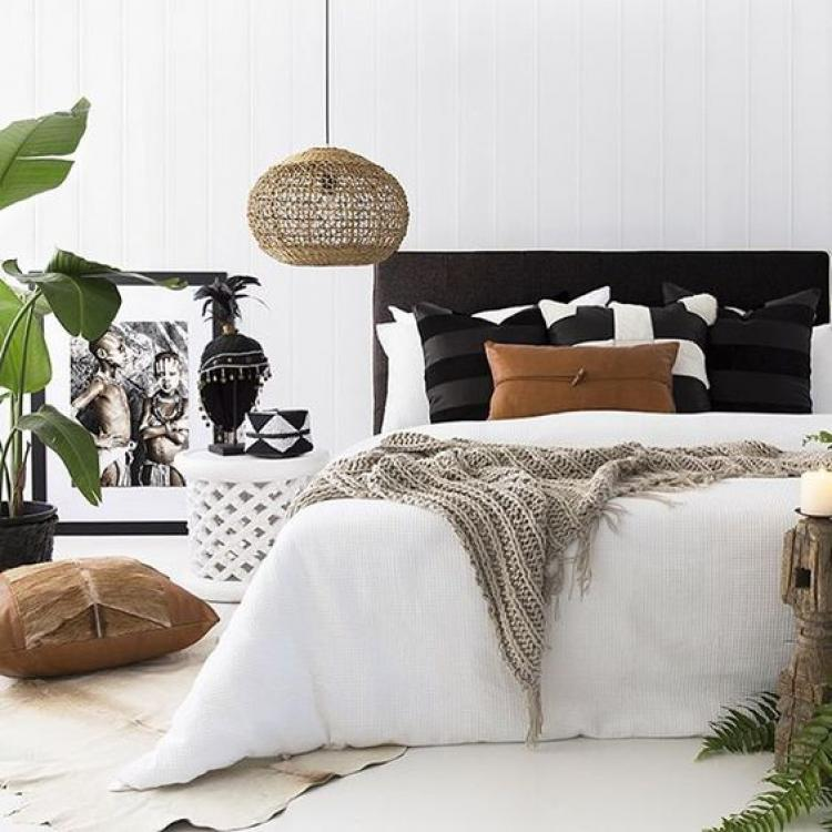 Small black and white bedroom colors decorations with plat for Nature decor