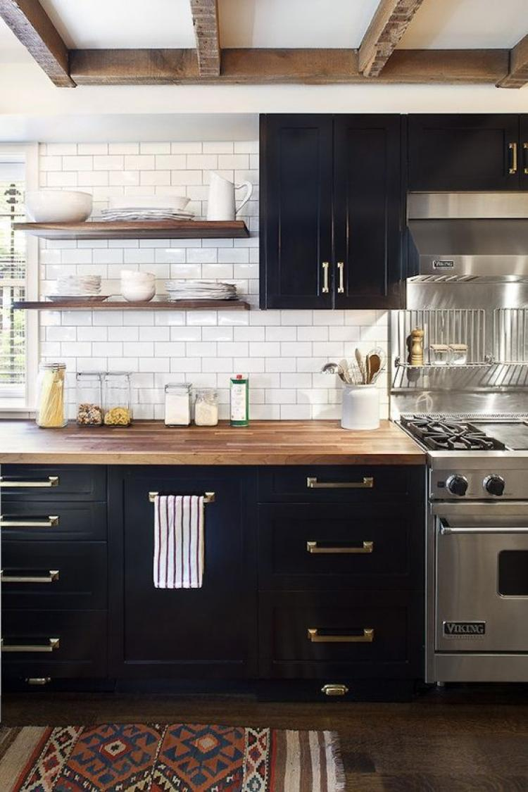 Small Black And White Kitchen Colors Decorations With