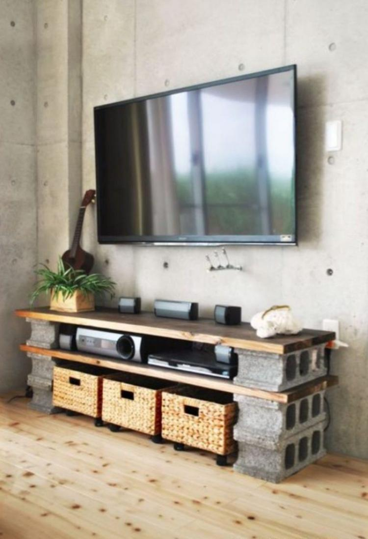 tv console rustic style furniture with cinder block design ideas