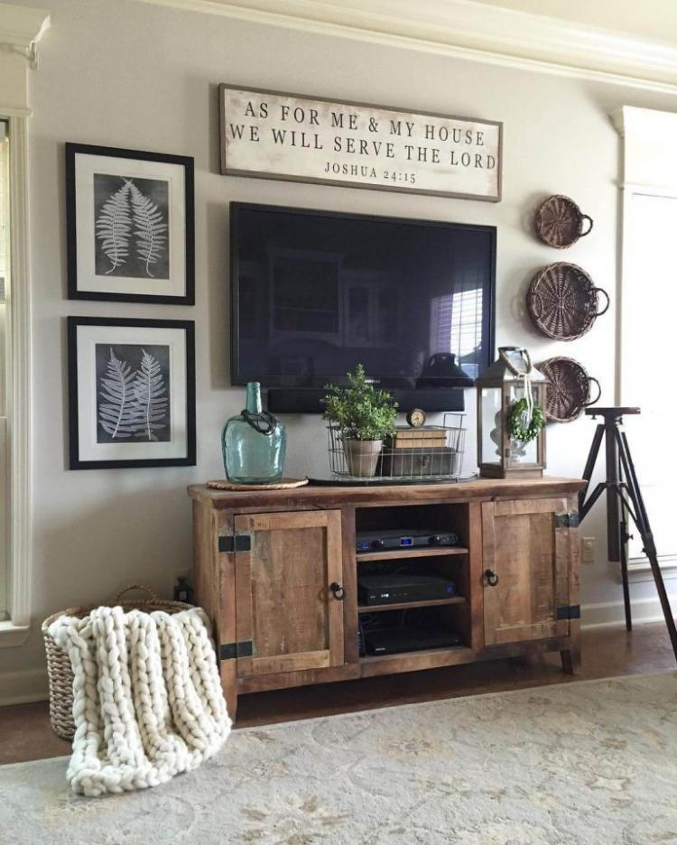 tv console rustic style furniture ideas with rustic wall decor