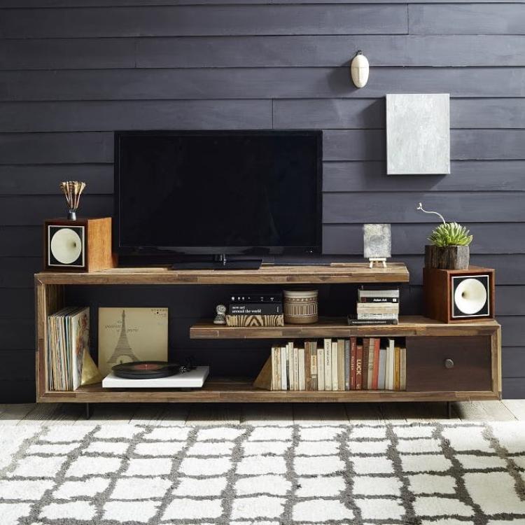 tv console rustic style furniture with bookshelf place uniqie design
