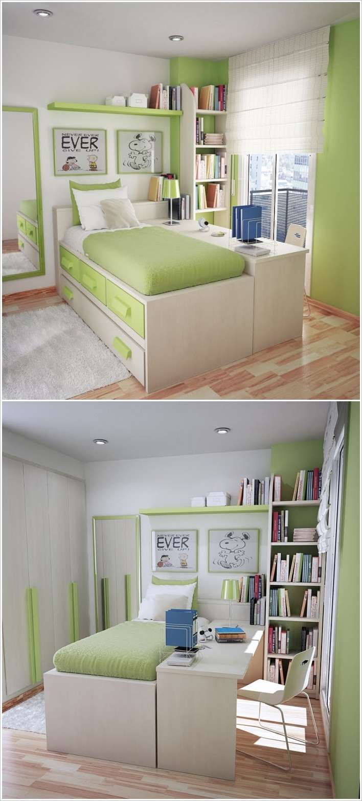 Smart Bedside Table: 10 Smart Solutions Teen Bedrooms For Small Space