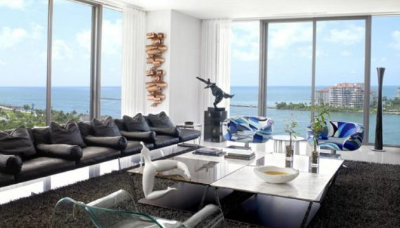 580 Square Apartment Miami by Léo Shehtman's office with ocean views Living Room Modern Design