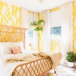 Bright Yellow Bedroom With Rattan Headboards Design