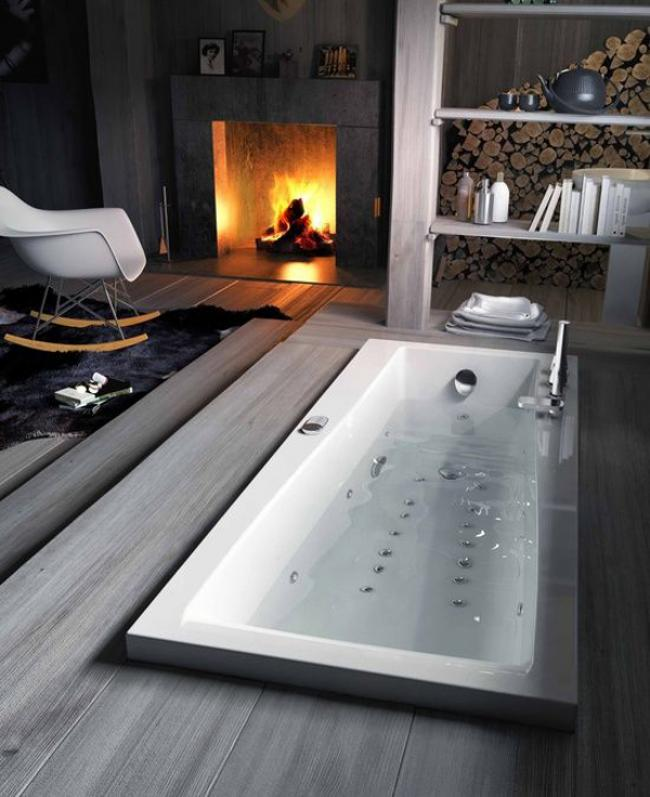 25 Modern and Comfy Bathroom with Fireplace