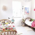 Double Kids Bed With Rattan Headboards Design