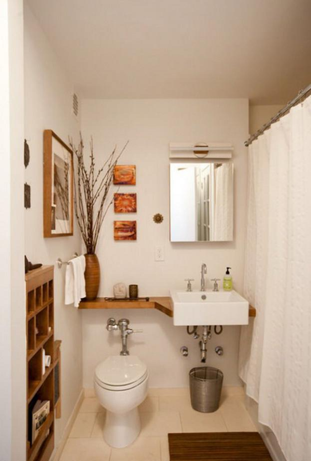 In tiny bathroom, every inch issues. This vanity stretches all the way to  the edge of the tub, making the most of available wall surface space to  create the ...