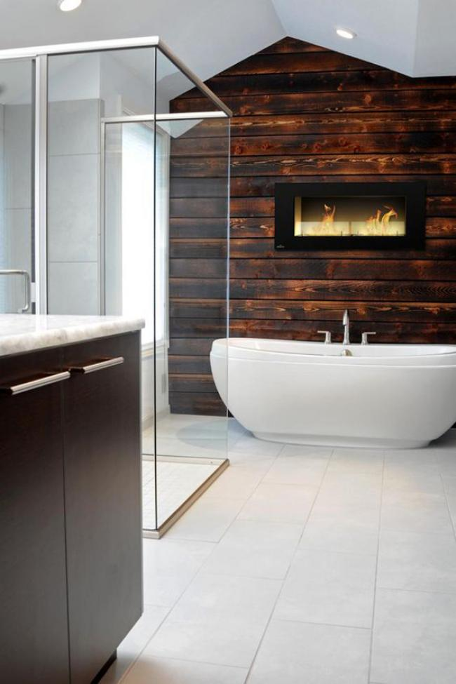 Modern Bathroom With Built In Fireplace Design Ideas