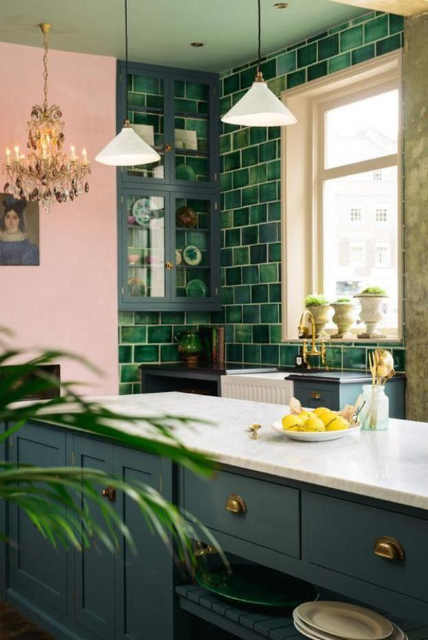 natural fresh tropical kitchen decor with green backsplash design