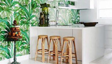 Natural Fresh Tropical Kitchen Wallpaper Ideas Design