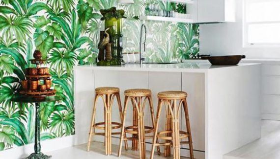 Natural Fresh Tropical Kitchen Wallpaper Ideas Design