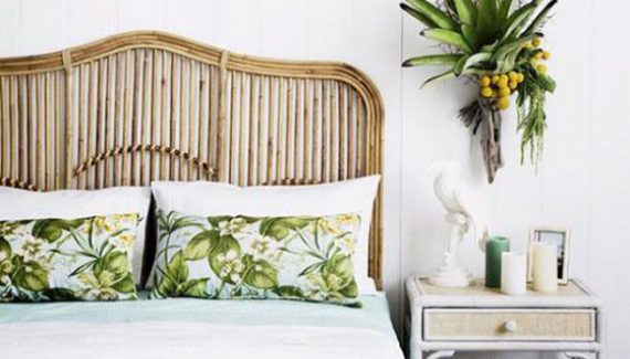 Tropical Rattan Headboard Ideas Design