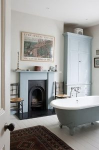 Vintage Pastel Bathrooms With Fireplaces Design Ideas