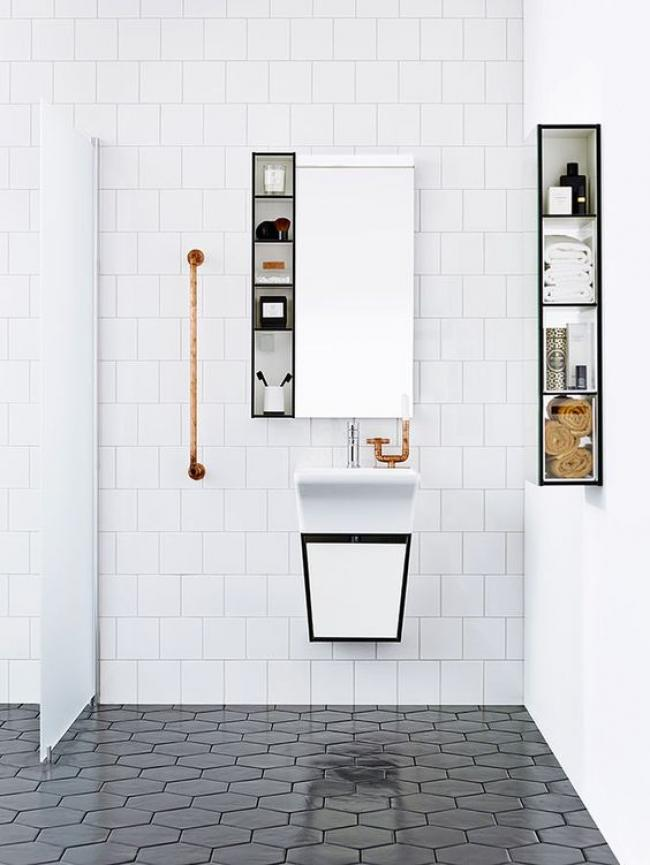 Modern Stylish Hexagon Tiles Ideas For Bathrooms Square White Tiles And  Black Hexagon Tiles Contrast In The Shape And Color