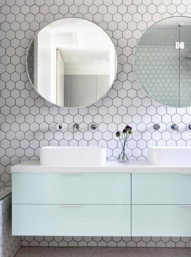 Modern Stylish Hexagon Tiles Ideas For Bathrooms White Hex Tiles With Black  Grout Contrast With Mint Cabinets