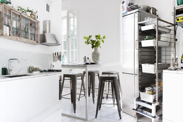 Rustic and vintage kitchen with white theme decor