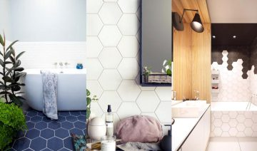 Stylish Modrn Hexagon Tiles Bathroom