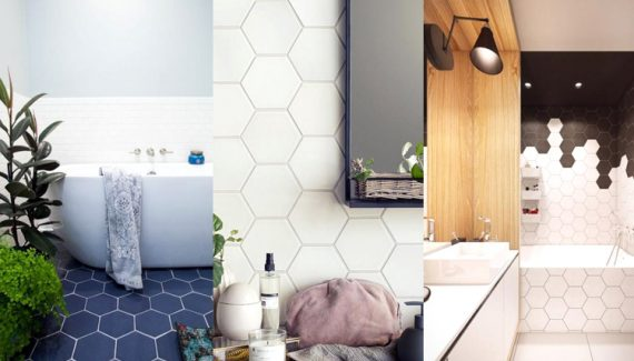 Stylish Modrn Hexagon Tiles Bathroom