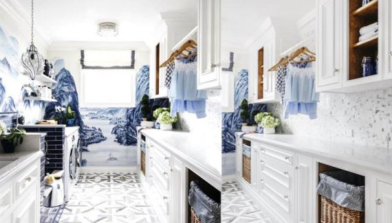 White and Blue Laundry Room
