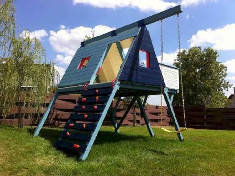 Diy backyard playground outdoor goods for Diy play structure