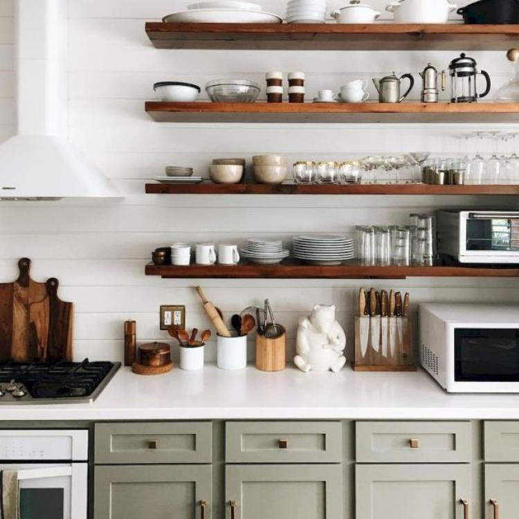 Kitchen Remodel Open Shelves: 65 Clever Small Kitchen Remodel And Open Shelves Ideas