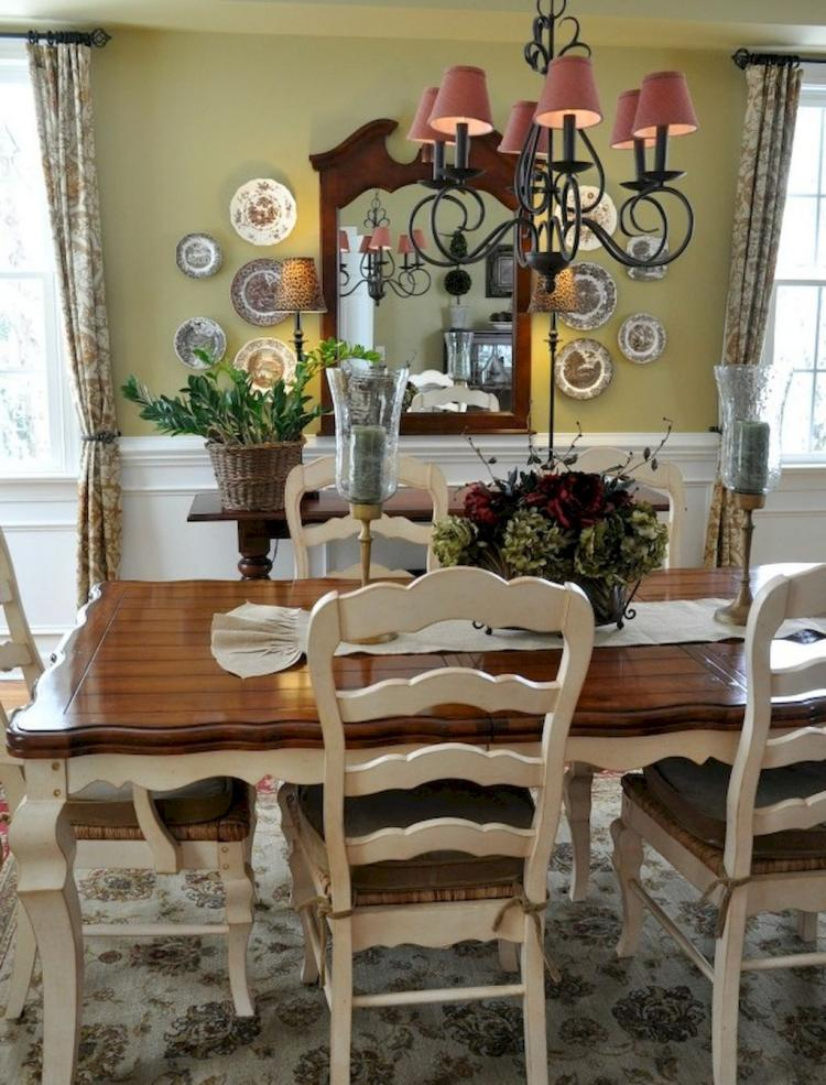 50 Fancy French Country Dining Room Table Decor Ideas