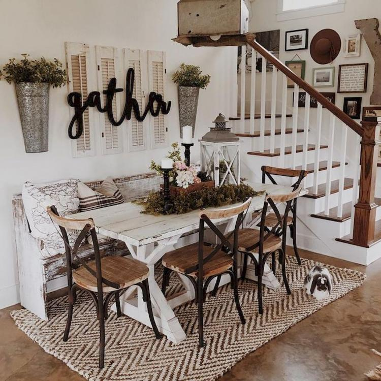 70 amazing modern farmhouse dining room decor ideas for Farmhouse style dining set