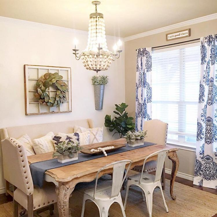 50+ Rustic Farmhouse Dining Room Design Inspirations on Dining Room Curtains Farmhouse  id=29510