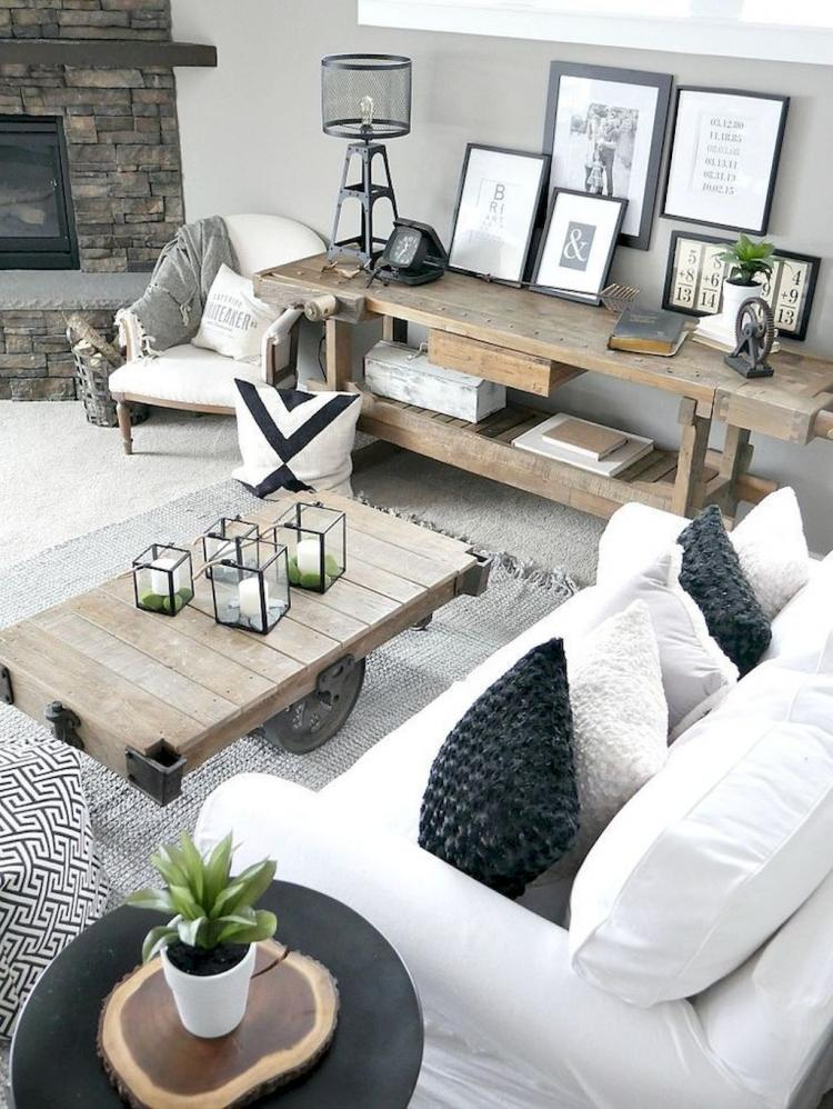 Modern Living Room Dominated By Neutral Colors: 50+ Beautiful Modern Farmhouse Living Room Decor Ideas