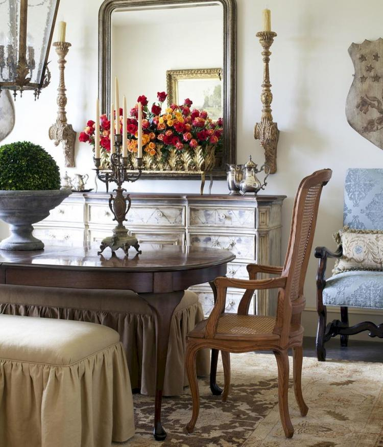 50+ Fancy French Country Dining Room Table Decor Ideas ...