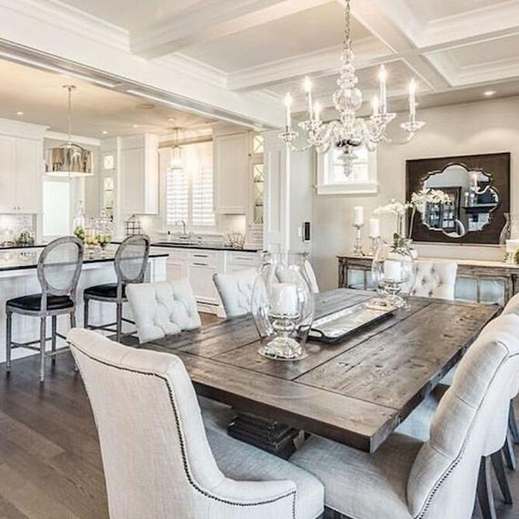 Simple White Themed Dining Room Design Ideas: 70+ Farmhouse Dining Room Table & Decorating Ideas