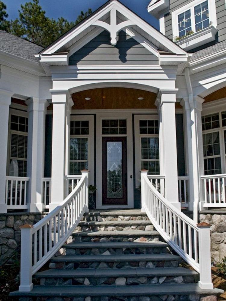 Small Modern House Interior Design: 40 Farmhouse Front Porch Steps Ideas